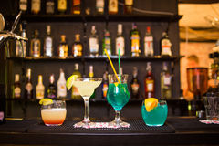 Some alcoholic cocktails. An alcoholic cocktails is in beautiful glass, in the restaurant Stock Photography