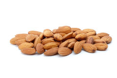 Some almonds. Isolated on the white background Royalty Free Stock Photos