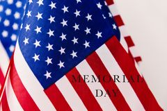 American flags and text memorial day Royalty Free Stock Photo