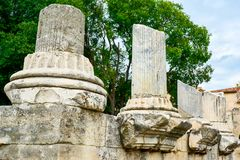 Ancient Roman columns in Arles, France. Some ancient Roman columns in Arles, France Royalty Free Stock Photo