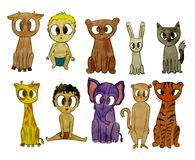 Some animals and children sitting graphics Royalty Free Stock Images