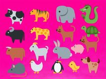 Some animals picture gift card vector. Varieties color. bright background, pink color background royalty free illustration