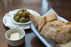 Some antipasta at an italian restaurant in Europe. With olive and bread royalty free stock photos