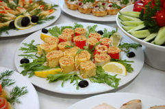 Some appetizing food. From banquet table Royalty Free Stock Photography