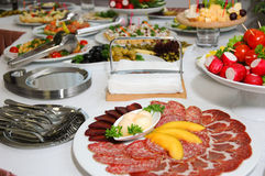 Some appetizing food. From banquet table stock photography