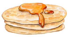 Some appetizing pancakes with sweet maple syrup. Watercolor vector drawing - healthy food Royalty Free Stock Image