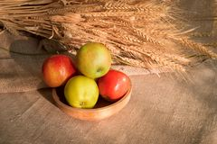 Some apples in wooden plate on a linen tablecloth with burlap and ears of wheat. Lit by the sun light Stock Images