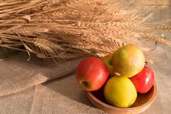 Some apples in wooden plate on a linen tablecloth with burlap and ears of wheat. Lit by the sun light royalty free stock image