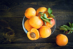 Some apricots in a bawl Stock Photos