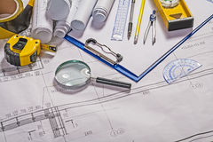 Some architect tools on blueprint Royalty Free Stock Images