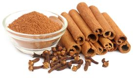 Some aromatic cinnamon with cloves and ground spice. Over white background Royalty Free Stock Photo