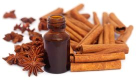 Some aromatic cinnamon with star anise and essential oil. In a bottle Royalty Free Stock Image