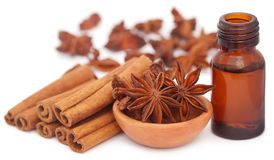 Some aromatic cinnamon with star anise and essential oil. In a bottle over white background Stock Photo
