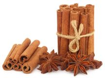 Some aromatic cinnamon with star anise. Over white background Stock Image