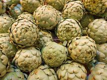 Some artichokes are waiting to be sold. Artichokes are waiting to be sold Royalty Free Stock Photos