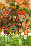 Some artworks of Vietnam artistic fruit carving decoration festival held in Tao Dan Park to welcome the lunar new year. HO CHI MINH CITY, VIETNAM- JANUARY 27 Royalty Free Stock Images