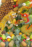 Some artworks of Vietnam artistic fruit carving decoration festival held in Tao Dan Park to welcome the lunar new year. HO CHI MINH CITY, VIETNAM- JANUARY 27 Stock Photography