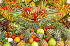 Some artworks of Vietnam artistic fruit carving decoration festival held in Tao Dan Park to welcome the lunar new year. Stock Photo