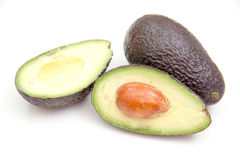 Some avocado. Seen up close on a white background stock photos