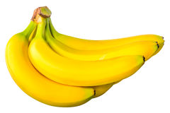 Some bananas in a bunch. On a white background royalty free stock photos