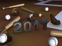 Some baseball objects with 2011 in center. Some baseball batts, balls and gloves with 2011 in center on a brown playground Stock Photos