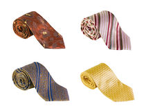 Some beautiful men's neckties. Isolated on white Stock Photography