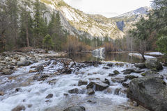 Some beautiful scene of the famous Mirror Lake of Yosemite Stock Images