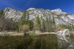 Some beautiful scene of the famous Mirror Lake of Yosemite. Morning Royalty Free Stock Image