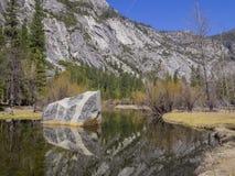 Some beautiful scene of the famous Mirror Lake of Yosemite. Morning Royalty Free Stock Photo
