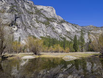 Some beautiful scene of the famous Mirror Lake of Yosemite. Morning Stock Photography
