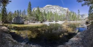 Some beautiful scene of the famous Mirror Lake of Yosemite. Morning Royalty Free Stock Images