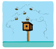 Some bees fly around royalty free stock images