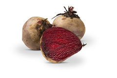 Some beets in a basket over a white background. Fresh vegetable Stock Images