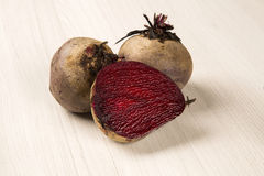 Some beets in a basket over a white background Royalty Free Stock Image