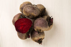 Some beets in a basket over a white background Royalty Free Stock Images