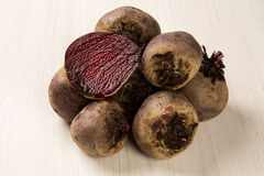 Some beets in a basket over a white background. Fresh vegetable Royalty Free Stock Photo