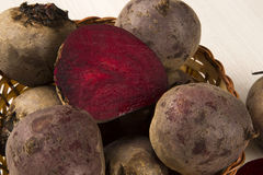 Some beets in a basket over a white background. Fresh vegetable Stock Photography