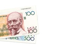Some belgian franc bank notes. With copy space stock image