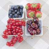 Some berries. On a checkered tablecloth Royalty Free Stock Photo