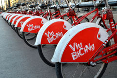 Some bicycles of the bicing service in Barcelona, Spain Stock Photography