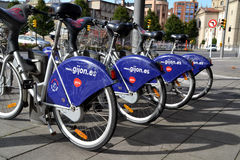 Some bicycles of the bike rental service in Gijon, Spain Stock Photo