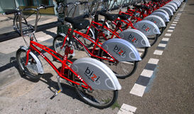 Some bicycles of the bizi service in Zaragoza, Spain Stock Image