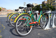 Some bicycles of the Girocleta service in Girona, Spain Stock Images