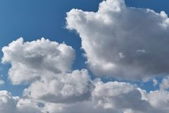 Some big Cumulus clouds on a clear blue sky. Clouds are illuminated by sunlight. Summer weather before the rain. Backdrop or background Wallpapers and images Royalty Free Stock Image