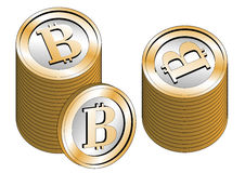 Some stacked bitcoins Stock Photo