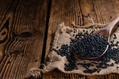 Some Black Lentils (close-up shot) Royalty Free Stock Photography