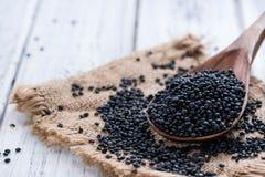 Some Black Lentils (close-up shot) Stock Photography