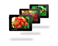 Some black tablets with motley pictures Royalty Free Stock Photo