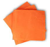 Some Blank Orange Paper Serviettes. Isolated On White Background Royalty Free Stock Images