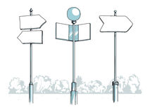 Some blank signposts. Vector illustration of three blank signposts standing somewhere in a park Royalty Free Stock Photo
